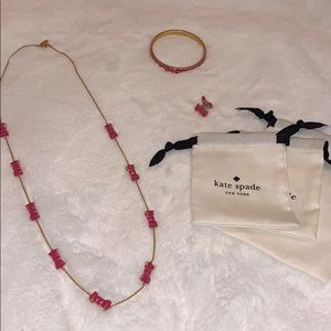 Kate Spade Bow Necklace Bracelet Earrings Set